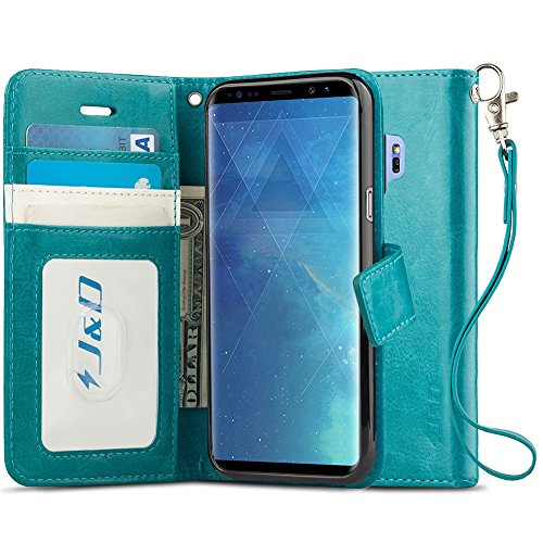 J&D Case Compatible for Galaxy S9 Case, [RFID Blocking Wallet] [Slim Fit] Heavy Duty Shock Resistant Flip Cover Wallet Case for Samsung Galaxy S9 Wallet Case - [Not for Galaxy S9 Plus] - Aqua