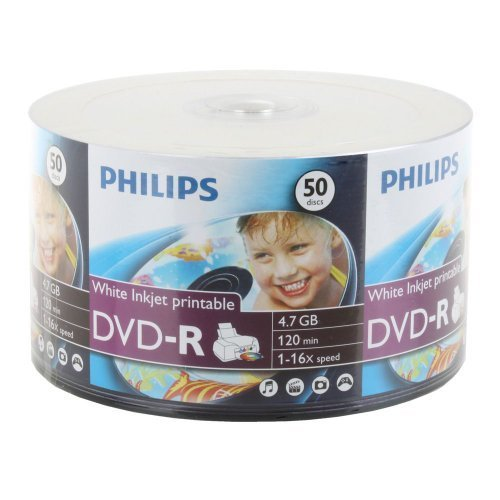 50-pack Philips 16x DVD-R White Inkjet Printable Recordable Blank DVD disk (DM4I6U50F)