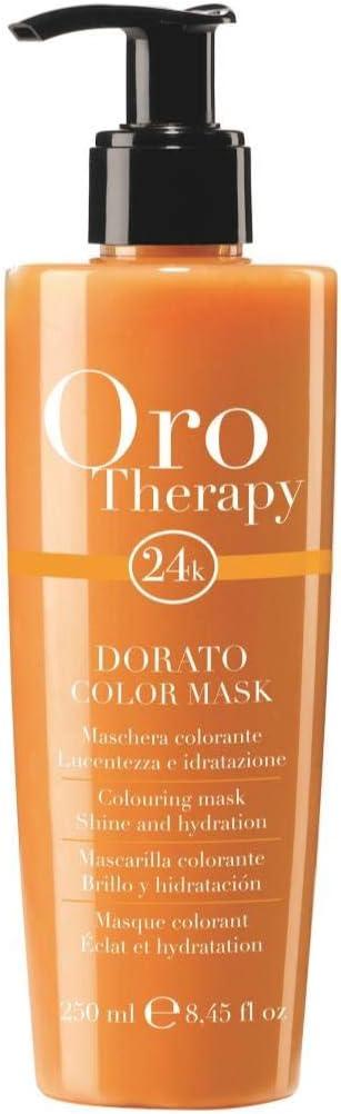 Fanola - Mascarilla colorante profesional Oro Therapy 24K, aporta brillo, hidrata, aviva colory ayuda a iluminar reflejos, 250 ml, 250ml Biondo miele