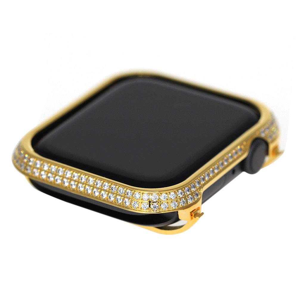 HJIN Bling spakling Exquisite Handmade Inlaid Rhinestone Diamond Crystal Yellow Gold case Bezel Compatible Apple Watch Series 4 (Gold, 44mm) by HJIN