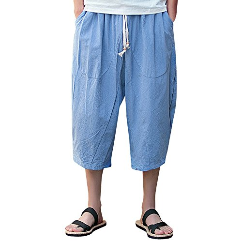 Corriee Cotton Linen Shorts for Men Mens Baggy Calf-Length Harem Pants Loose Solid Color Trousers with Pockets Sky Blue ()