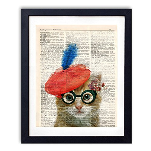 akeke Vintage Dictionary Art Print | Cat Lady With Red Hat Blue feather Flowers Lover Gifts Decor | Wall Art Posters 8x10 inch (Cat Hat Art)