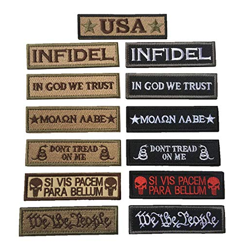 Bundle 13 Pieces Tactical Morale Patch Embroidery Military Patches Set for Caps,Bags,Backpacks,Tactical Vests,Military Uniforms Etc. (13 Pack Military)