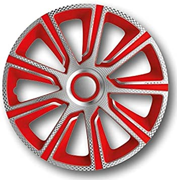 13 inch 4pc set Wheel Trims Covers Hub Caps Veron Carbon Silver Red