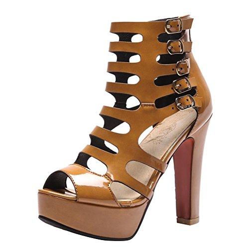 YE Damen High Heels Peep Toe Sandaletten Plateau Sommer Stiefeletten Ankle Boots mit Reißverschluss und Schnalle Schuhe Braun