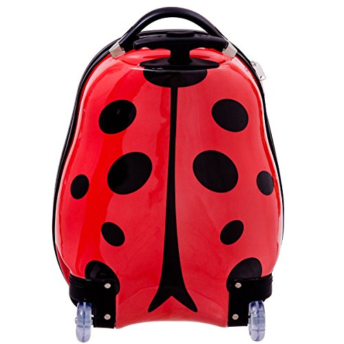 Goplus 2Pc 13'' 19'' Kids Carry On Luggage Set Travel Trolley Suitcase (Ladybug) by Goplus (Image #3)