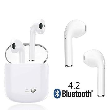 Auricular Bluetooth, Mini auricular inalámbrico Bluetooth, doble estéreo en la oreja Bluetooth 4.2, con caja de carga portátil y micrófono integrado para ...