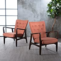 Suffolk French Style Fabric Arm Chair (Set of 2) (Orange)