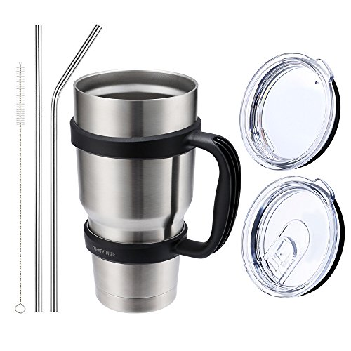 Comfy Mee Vacuum Insulated Stainless Steel 30OZ Tumbler Set of 7 Items: 1 Tumbler, 2 Straws , 1 Strawer Cleaner brush , 1 Regular Lid, 1 Spill & Splash Resistant Lid (Tumbler with black handle)