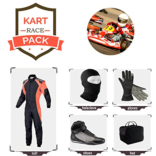 Sports Blue Go Kart Racing Suit Suit,Gloves,Balaclava and Shoes Free Bag - Black with Orange Side Style ()