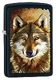 Zippo Custom Lighter: Painted Wolf - Black Matte 78705