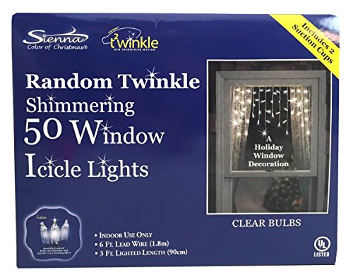 Random Twinkle Window Icicle Light Set, 50 Clear Lights, Indoor Use Only (Clear Icicle Bulb)