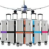 Ximimark 2 Set(4pcs) Luggage Strap Combination Lock Adjustable Luggage Packing Cross Belt Suitcase Travel Belt,Rainbow Color