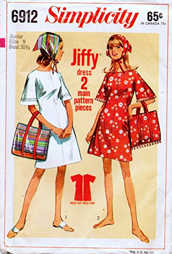 Simplicity 6912 Vintage Junior Jiffy Shift Dressor Top, Beach Bag and Scarf Sewing Pattern, Check listings for Size