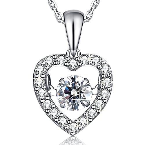 MEGA CREATIVE JEWELRY Dancing Dream 925 Sterling Silver Heart Pendant Necklace for Women with Swarovski Crystals, Wedding Jewelry Gifts