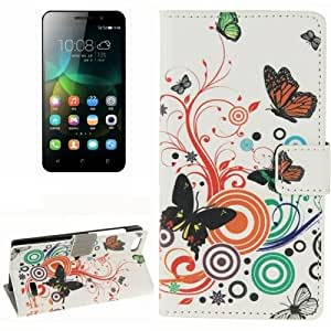 Color Butterfly Pattern Horizontal Flip Leather Case with Card Slots & Wallet & Holder for Huawei Honor 4C