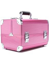 Professional Aluminum Makeup Organizer Beauty Artists Cosmetics Makeup Train Case Jewelry Storage Organizer(Gold...