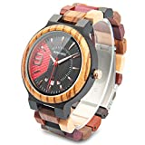 Men's Colorful Wooden Watch Natural Handmade Wood Watches Luxury Casual Analog Quartz Wristwatch with Gifts Box for Men