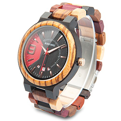 Men's Colorful Wooden Watch Natural Handmade Wood Watches Luxury Casual Analog Quartz Wristwatch with Gifts Box for Men by DB-WINNER