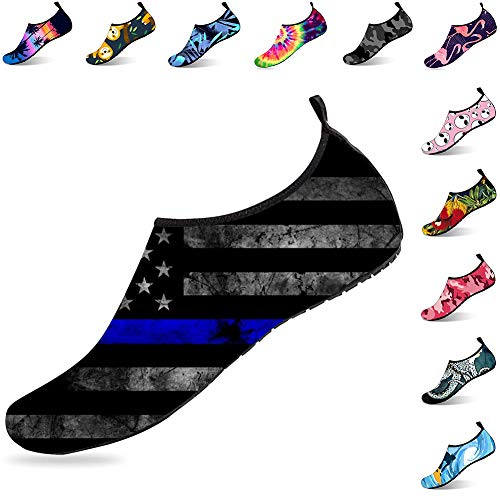 Womens and Mens Water Shoes American Thin Blue Line Barefoot Quick-Dry Aqua Socks for Swim Beach Pool Surf Yoga Exercise from ORNICE