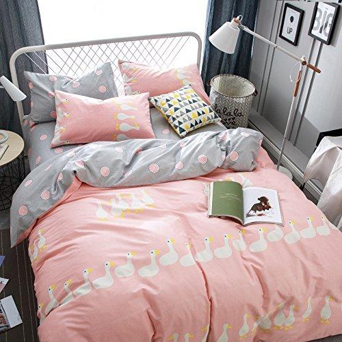 4pcs/set Cotton Bedding Set Duvet Cover Flat Sheet Pillow Case Unicorn Design Beddingset Queen Size No Comforter (Queen, Cute Duck, Pink) (Cute Bed Sheets)