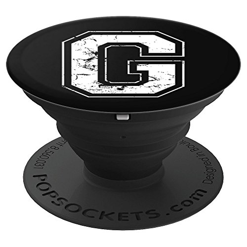 INITIAL LETTER G WHITE JERSEY SPORTS ATHLETIC PLAYER - PopSockets Grip and Stand for Phones and Tablets -