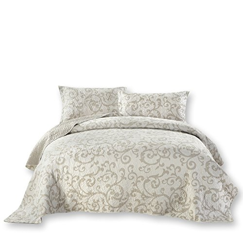 - DaDa Bedding European-Style Bedspread Set - Classical Luxe Couture Quilted Coverlet - Bright Vibrant Floral Jacquard White - Full - 3-Pieces