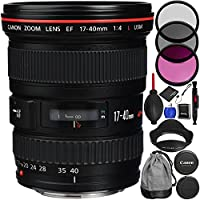 Canon EF 17-40mm f/4L USM Lens Bundle with Manufacturer Accessories & Accessory Kit for EOS 7D Mark II, 7D, 80D, 70D, 60D, 50D, 40D, 30D, 20D, Rebel T6s, T6i, T5i, T4i, SL1, T3i, T6, T5, T3