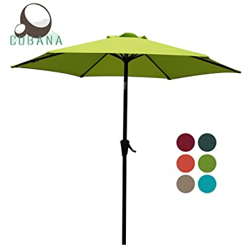 Awesome Patio Umbrella, 7.5u0027 Outdoor Table Market Umbrella With Push Button  Tilt/Crank,
