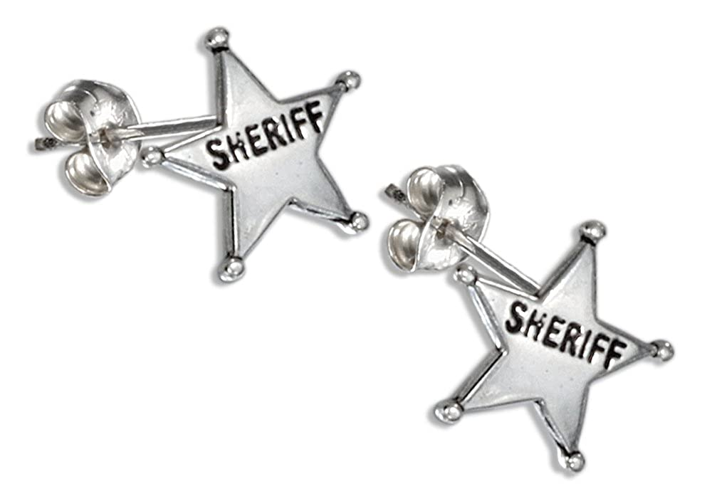 Sterling Silver Mini Sheriff Star Earrings on Stainless Steel Posts//nuts