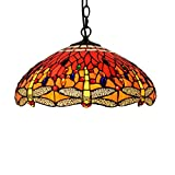 16-Inch Big Pendant Lamp European Retro Red Celebration Dragonfly Restaurant Ceiling Pendant Lights Tiffany Stained Glass Bar Club Creative Chandelier