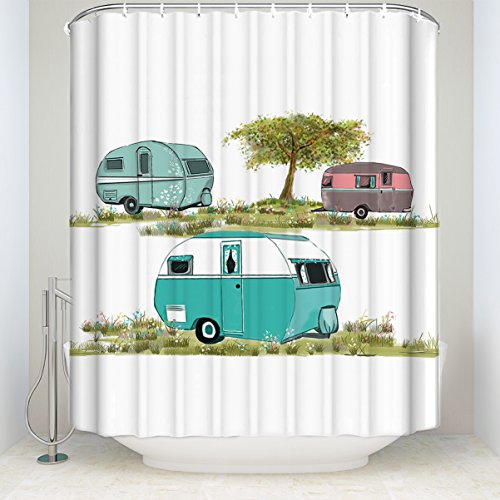 Retro Camping Shower Curtain,vintage travel trailer Decor,Bathroom Decor Sets with Hooks Polyester Fabric 36(w) x 72(h)