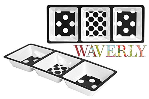 Waverly Printed Melamine 3 Section Chip and Dip Serving Platter Tray Large Size 14.75