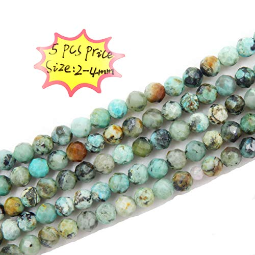 (Malahill 2-4mm Faceted Gemstone Beads for Jewelry Making, Sold per Bag 5 Strands Inside (African Turquoise, 2mm))
