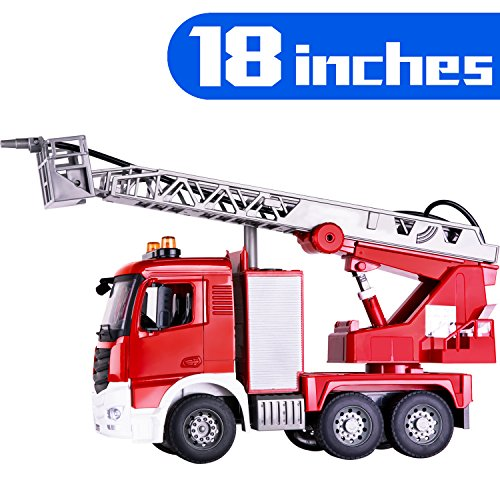 iPlay, iLearn Large Fire Truck Toy, Shooting Water, Lights N Sound, Extending Ladder, Firefighter Engine Rescue Vehicle, Gift for Ages 2, 3, 4, 5, 6 Year Olds Boys Girls Toddlers Kids Indoor Outdoor