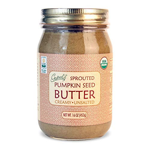 Gopal's Sprouted Organic Raw Pumpkin Seed Butter, 100% Gluten-Free (Unsalted) 16 Ounces   Keto, Paleo and Whole 30-Friendly by Gopal's Healthfoods