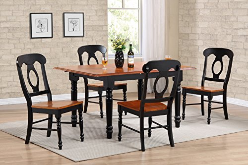 (Sunset Trading DLU-TLB3660-C50-BCH5PC 5 Piece Butterfly Leaf Dining Table Set with Napoleon Chairs, Antique Black/Cherry)