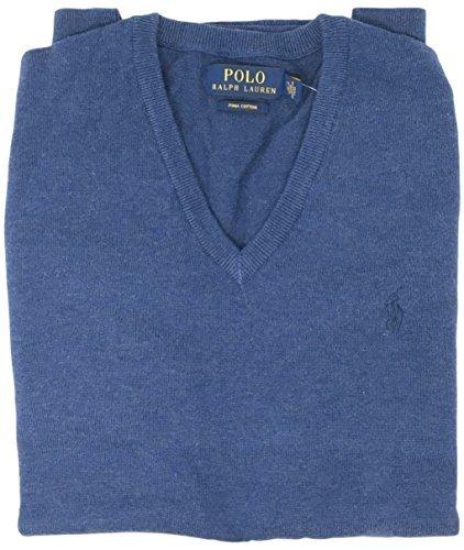 Polo Ralph Lauren Mens Pima Cotton V-Neck Sweater (Blue , XXL)