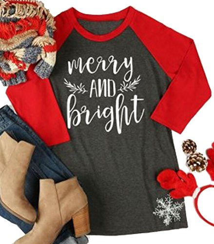 Christmas Shirts - Merry And Bright Christmas T-shirt Women Casual 3/4 Sleeve Leaf Print Round Neck Baseball Tee Tops size US L/Tag XL (Red)