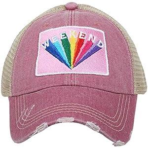 KATYDID Weekend Rainbow Baseball Hat – Trucker Hat for Women – Stylish Cute Ball Cap