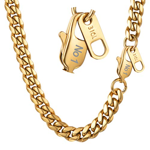PROSTEEL Miami Cuban Link Necklace 18K Gold Plated Hip Hop Chain 6mm Women Choker Personalized Custom Name Men Jewelry (Solid Pendant Steel Stainless)