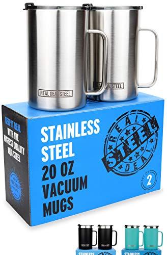 Stainless Steel Vacuum Insulated Mugs - 20 oz Large Double Wall Coffee or Tea Cup, Set of 2 w/ Handle + Lid, Thermal Camping Mug Keeps Drinks Hot, Beer Mug That Keeps Beer Cold (Stainless Steel)