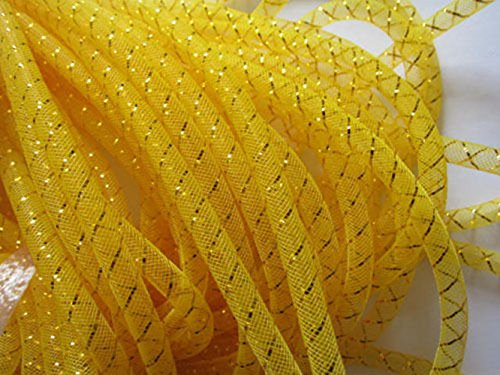 YYCRAFT 15 Yards Solid Mesh Tube for Craft Deco Flex for Wreaths Cyberlox CRIN Crafts 8mm 3/8-Inch New Colors(Bright Yellow)