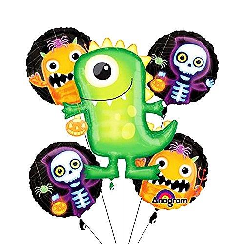 Skeleton Halloween Balloon Bouquet (Halloween Monsters Mylar Balloon Bouquet)