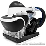 PSVR Charging Stand with Optional Illumination by Asterion Products – Rapid AC Charger Display holds the PlayStation VR Headset, (2) DualShock 4, (2) Move Controllers & Headphones