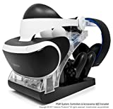 PSVR Charging Stand with Optional Illumination by Asterion Products – Rapid AC Charger Display holds the PlayStation VR Headset, (2) DualShock 4, (2) Move Controllers & Headphones Review