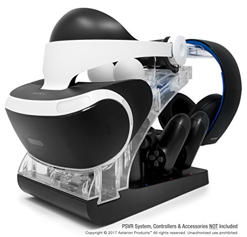 PSVR Charging Stand with Optional Illumination by Asterion Products  Rapid AC Charger Display holds the PlayStation VR Headset, (2) DualShock 4, (2) Move Controllers & Headphones