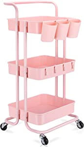 3-Tier Rolling Mobile Utility Cart with Hanging Cups & Hooks & Handle Multifunctional Organizer Storage Trolley Service Cart with Wheels (Pink) …