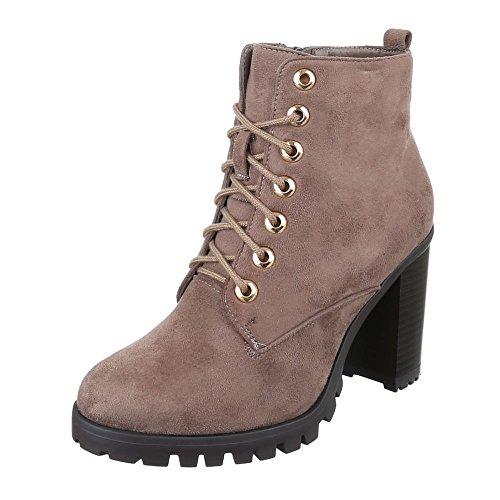 Ital-Design - Botas Militar Mujer marrón y gris