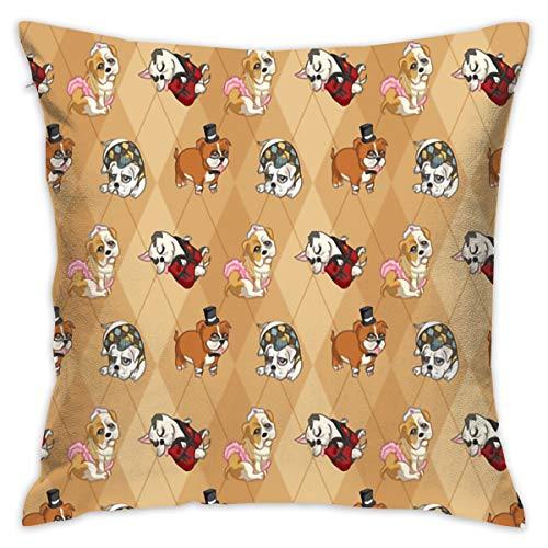 Pillow Santa Bulldogs (18 X 18 Inches Bulldogs Throw Pillow Covers Cases With Pillow Insert Sofa Bedroom Decor)